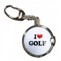 Sleutelhanger met golfbal - I Love Golf (1 stuks) KEYLG Sportiques Golfcadeaus