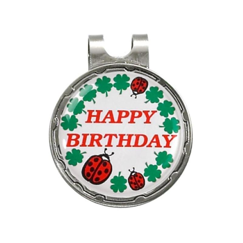 Magnetische marker op hatclip - Happy Birthday (1 stuks)  Silverline Golf €9,95