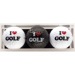 3 golfballen I Love Golf GBLG Sportiques Golfcadeaus