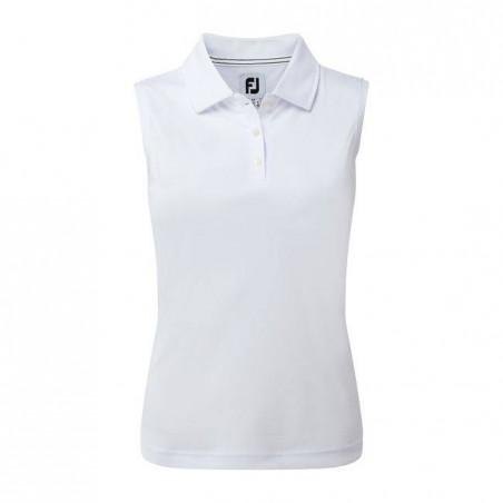 Footjoy Interlock Sleeveless dames golf polo (wit) 94331 Footjoy Golfkleding