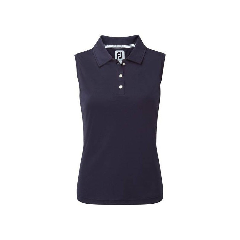 Footjoy Interlock Sleeveless dames golf polo (marineblauw) 94332 Footjoy Golfkleding